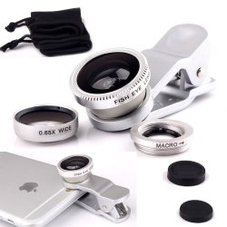 Silver Cell Phone Lens 3 In1 iPhone Camera Lens Kits