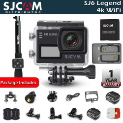 SJCAM SJ6 Legend 4K Wifi Action Camera Easy Bundle with SJCAM Monopod Remote, SJCAM Battery and Charger