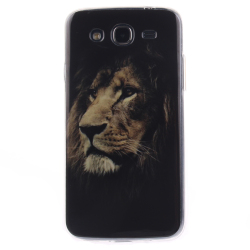 Soft TPU Back Cover with Lion Painting for Samsung Galaxy Mega 5.8 i9152 (Black)