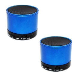 Sound Bytes Mini Digital Bluetooth Speaker Set of 2 (Blue)