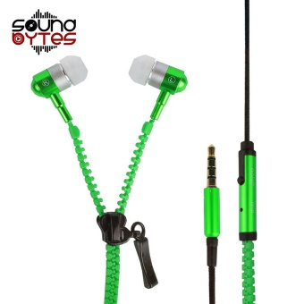 Sound Bytes Super Bass Zipper In-Ear Earphones (Green)