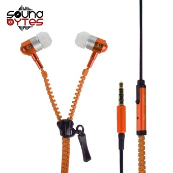 Sound Bytes Super Bass Zipper In-Ear Earphones (Orange)
