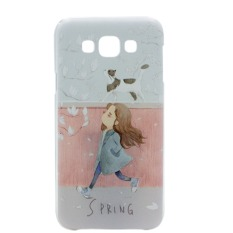 Spring Day Clear Edge Hard Plastic Painting Back Case For Samsung Galaxy E5 (Multicolor)