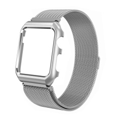 Stainless Steel Milanese Loop Magnetic Strap with Protective Metal Case for Apple Watch Series 3/