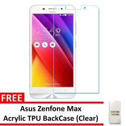 Tempered Glass For Asus Zenfone Max (Clear) with Free Back Case (Clear)