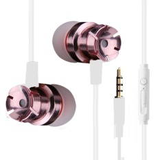 The Metal In-Ear Earphones Turbo Bass Computer Mobile Phone Headset(Rose Gold)