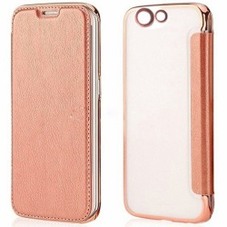 Ultra Clear Slim Case with Flip Cover for Oppo F1s (Rose Gold)