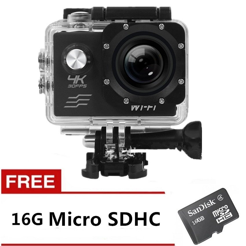 Ultra HD 4K WiFi 16MP Action Camera Sport DVR (Black) with Free 16GB SD Card