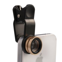 Universal 3 in1 Wide Angle + Fish Eye Camera Lens Macro Camera Clip-on Lens Kit (Gold) with ID Lace