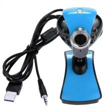 USB 2.0 6 LEDs 12M Webcam Camera with Built in 3.5mm Mic forDesktop PC Laptop