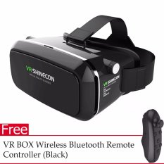 VR Box Shinecon Smartphone 3D Virtual Reality Glasses (Black) with FREE VR  BOX Wireless Bluetooth Remote Controller for Gaming (Black)