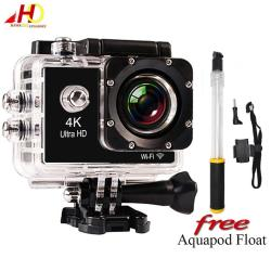 W8 4K 1080p Ultra HD DV 16MP WiFi Sports Action Camera (Black) with  FREE Aquapod Float Extension Pole (Black)