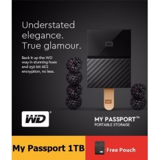 WD My Passport 1TB (Black) USB 3.0 Portable Hard Drive with FREE Pouch +