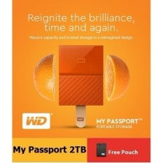 WD My Passport 2TB (Orange) USB 3 0 Portable External Hard Drive with FREE  WD Soft Pouch