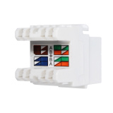 White Cat 6 RJ45 8P8C Punchdown Keystone Modular Ethernet Snap-in Jack Network - thumbnail 1