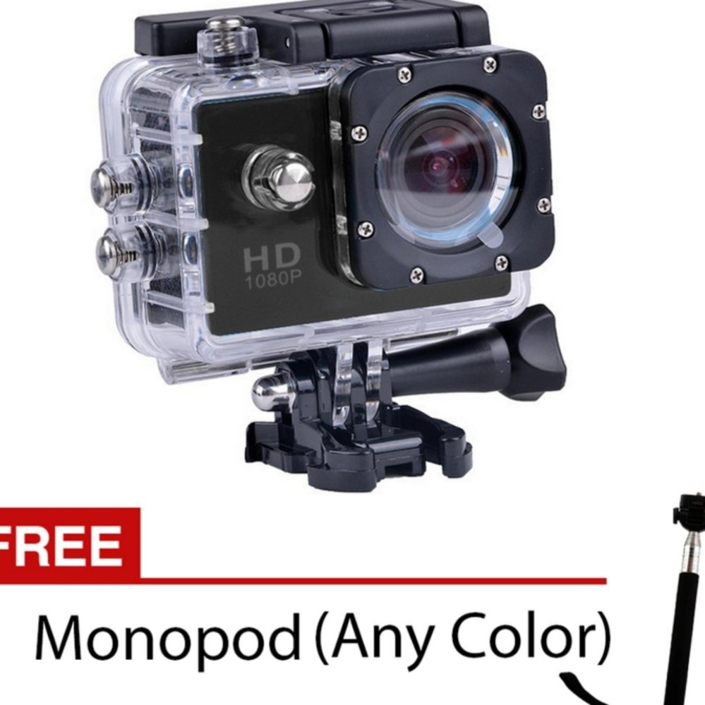Xiaocai- S8 4K Hd 16.0Mp Action Camera (Black) With Free Monopod(Not Wifi)