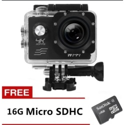 Xiaocai-Ultra Hd 4K Wifi 16Mp Action Camera Sport Dvr (Black) With Free 16Gb Sd Card plus Free Kds Beats-0022 100Db Stereo Subwoofer Over-The-Ear Headphones (Black)