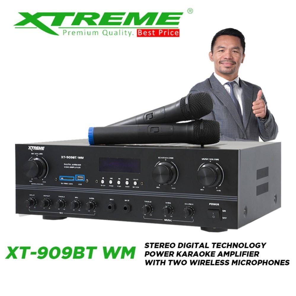 XTREME XT-909BT/WM Stereo Digital Technology Power Karaoke Amplifier with  Two Wireless Microphones (Black)