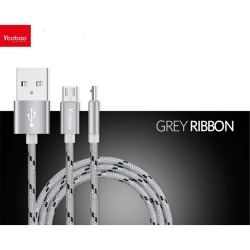 Yb-423 Micro Usb Cable 150Cm (Grey Ribbon) plus Free Kds Beats-0022 100Db Stereo Subwoofer Over-The-Ear Headphones (Black)