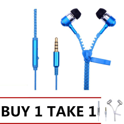 Zipper In-Ear Earphones (Blue/White) Buy 1 Take 1