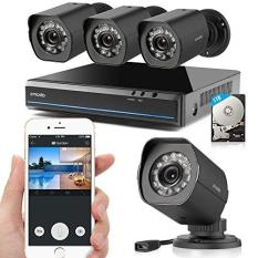Zmodo 4 Channel 1080P Hdmi Nvr 4720P Hd Security Camera Smart Poe System  1Tb Hdd