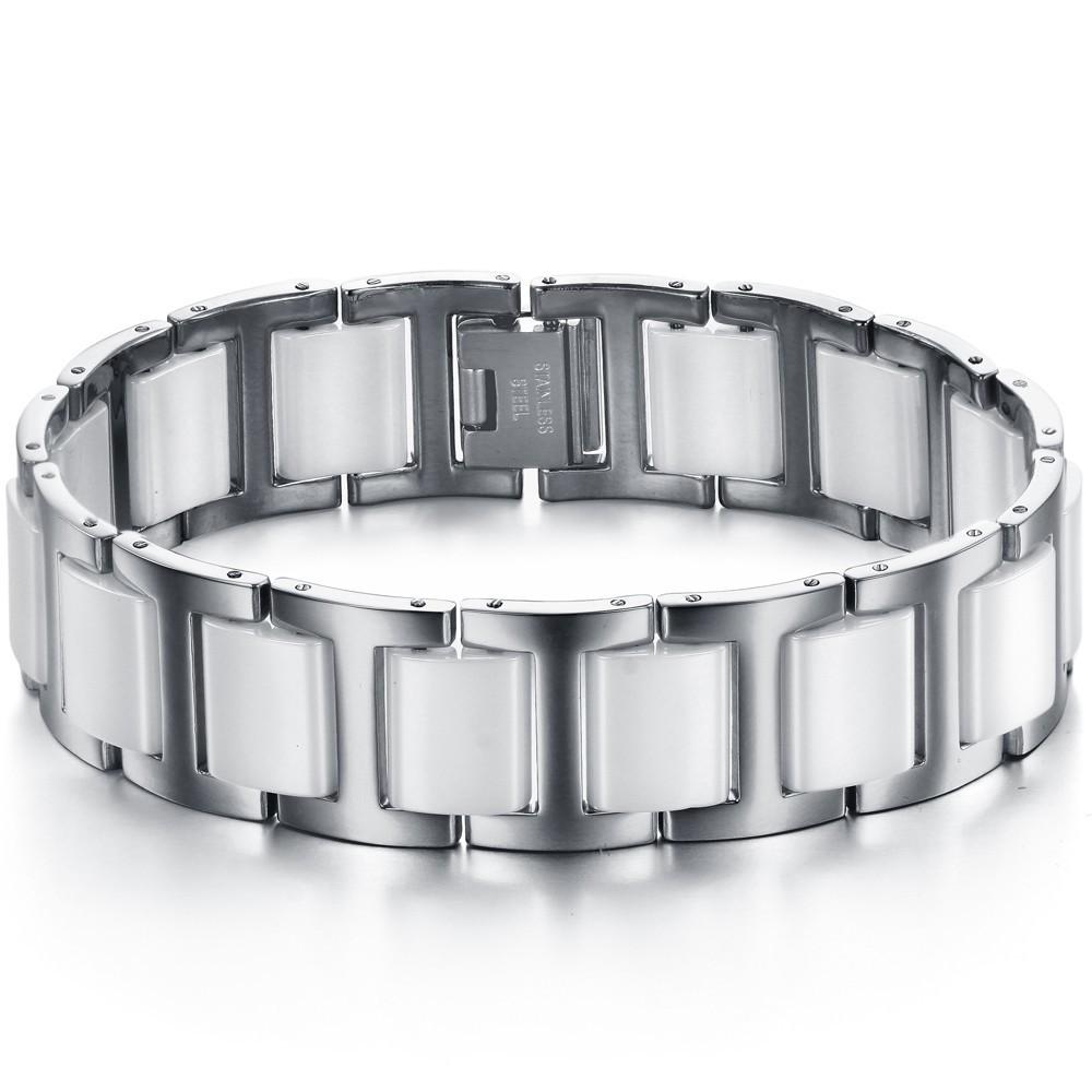 ZUNCLE Simple Stylish Men titanium steel Ceramic Bracelet(White) - thumbnail