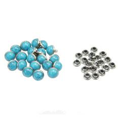 20 pcs Round Blue Turquoise Rapid Rivet Stud Leathercraft Decorations DIY Crafts - Intl