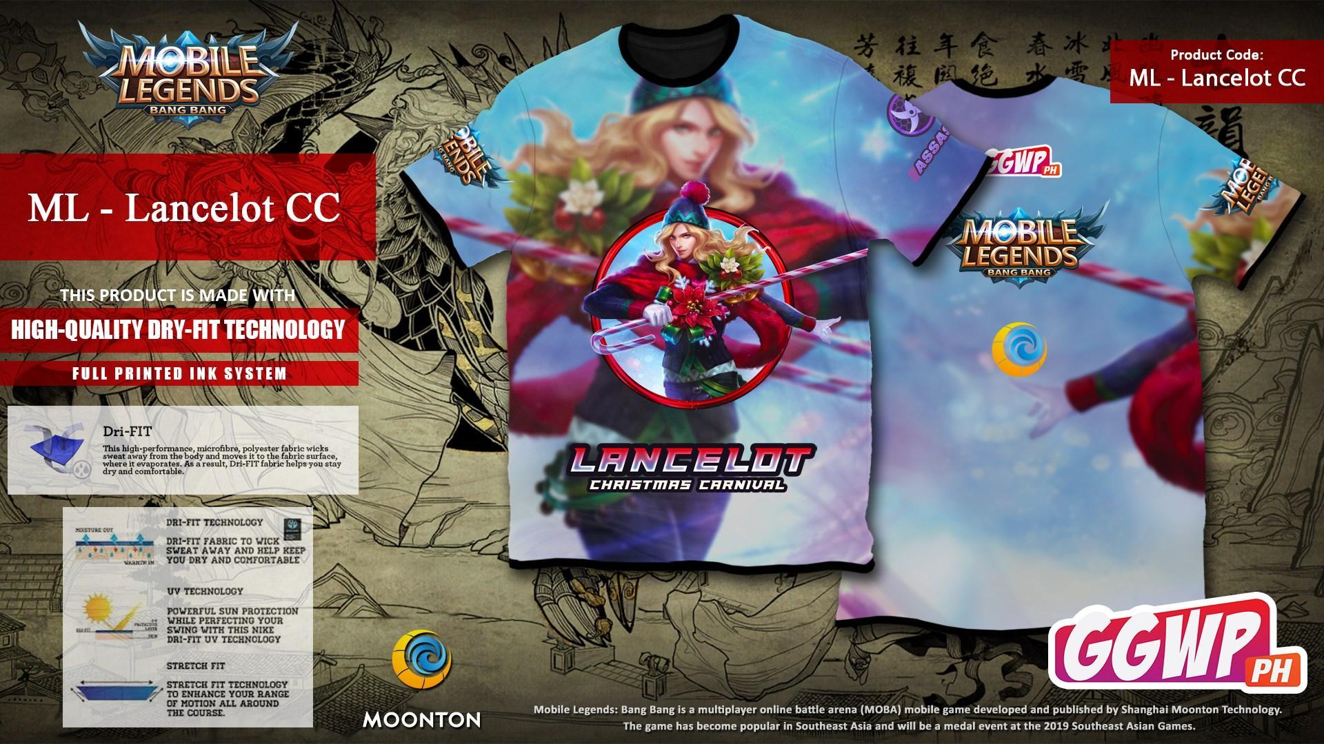 Christmas Carnival Lancelot.Ggwp Mobile Legends Full Printed Dry Fit Tshirt Jersey Lancelot