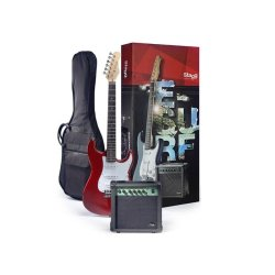 Stagg ESURF 250 Electric Guitar Package (Transparent Red)