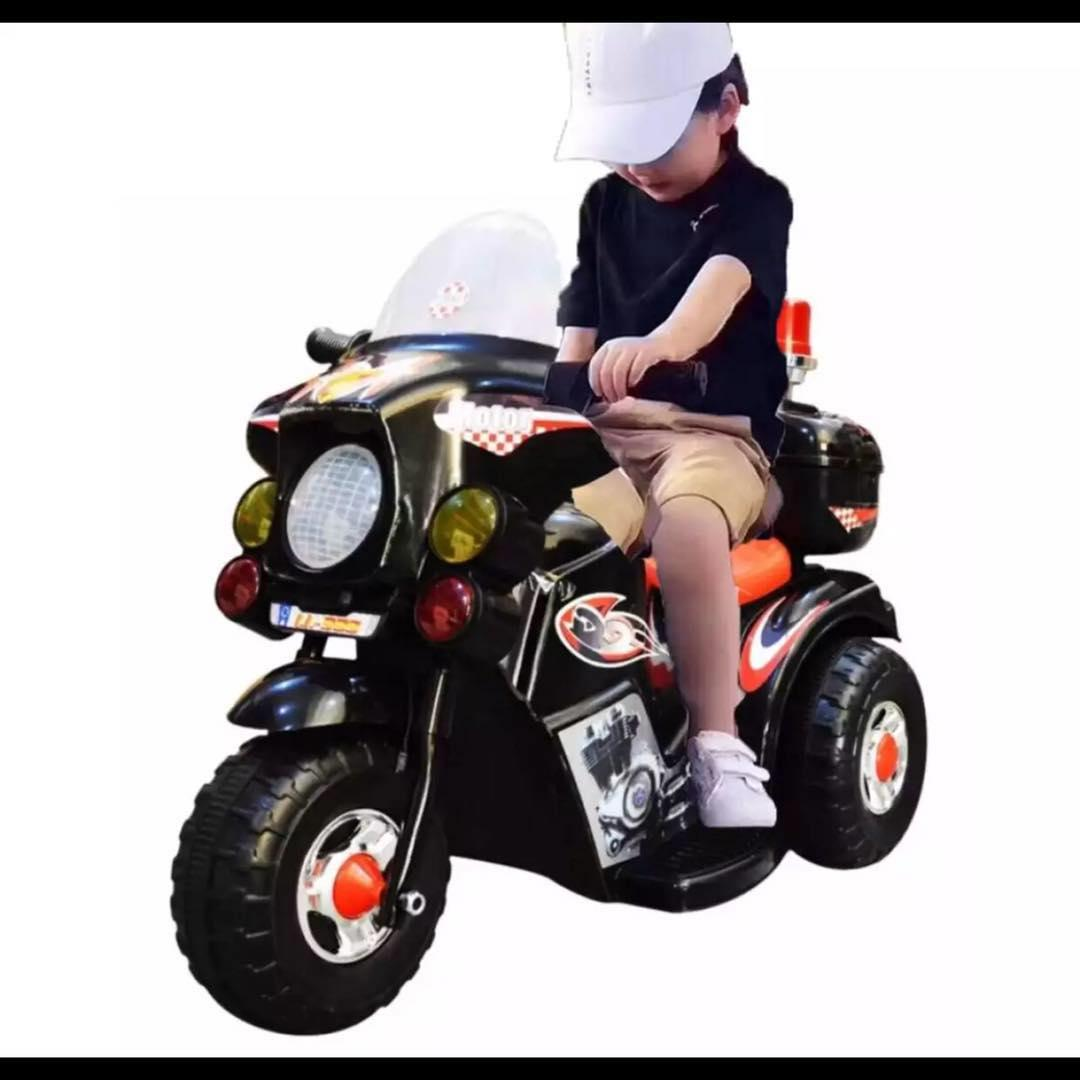 Rechargeable Motor Bike Kids Ride-On Toys Police Motorcycle (black) By Jhongel Marketing.