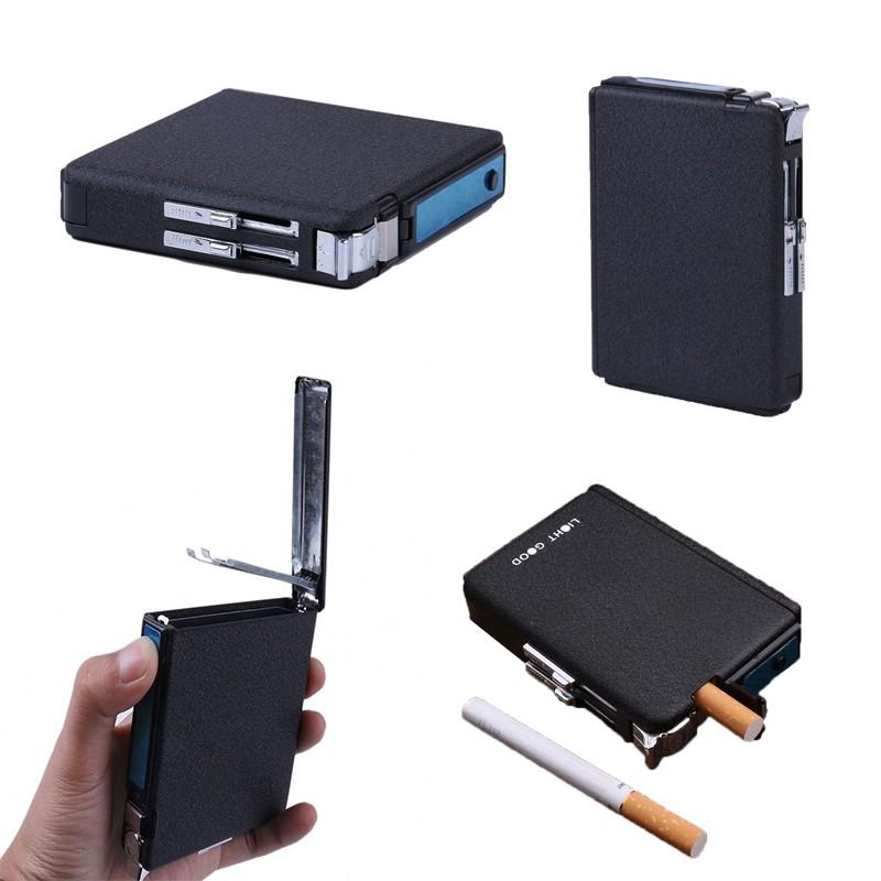 Metal Auto Magic Cigarette Case With Refillable Lighter (#1 Black)