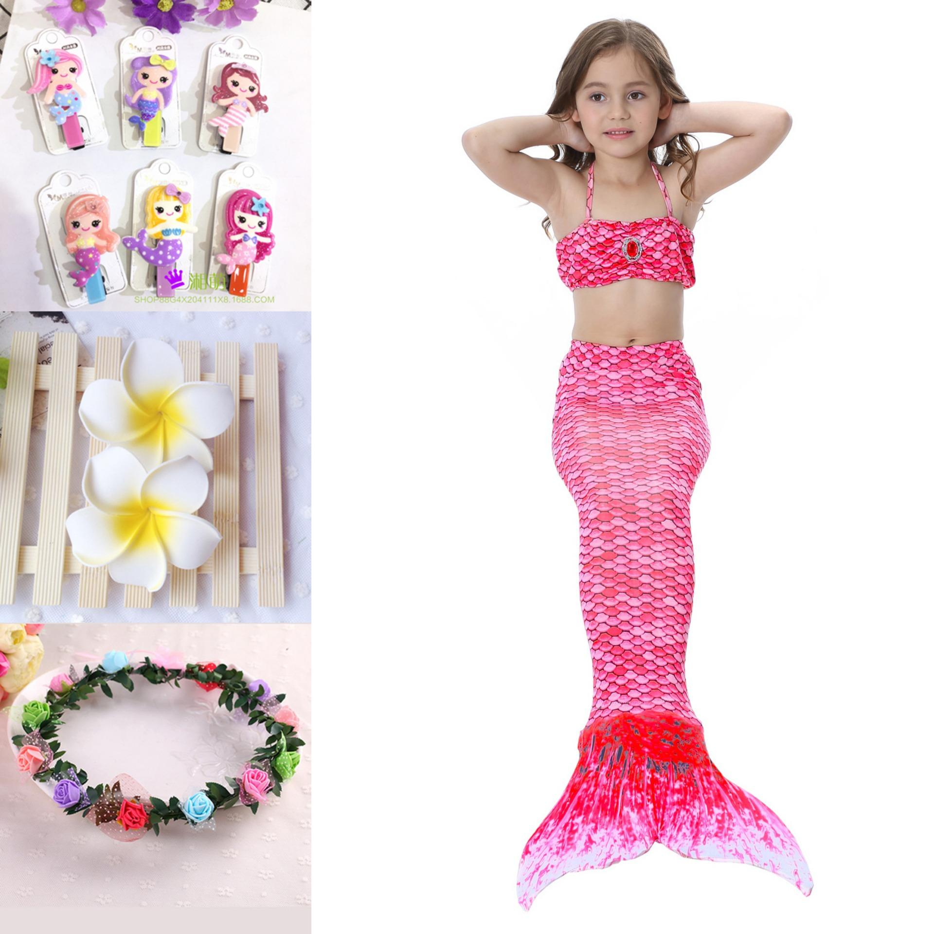 Monofin Princess Dress Girls Kids  Swimmable Mermaid tails tail Bikini 3pcs