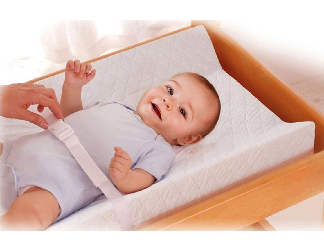 6326f0bd5b3 Waterproof Baby Diaper Changing Mat pad Foam Contoured wedge with safety  belt cot top changer Mattress