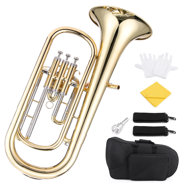 ammoon Brass B Flat Baritone Horn Bb Piston-Style Gold Lacquer Surface Wind Instrument with Mouthpiece Gloves Cleaning Cloth for Beginners Brass Band Malaysia