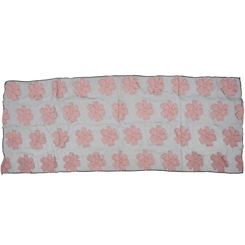 Giá bán Fashion Elegant Women Flower yarn Long Scarf Soft Shawl Gift Pink