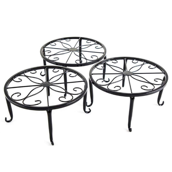 3 Pack Metal Potted Plant Stand Floor Flower Pot Rack Decorative Pot Garden Container Round Supports Rack (Black)