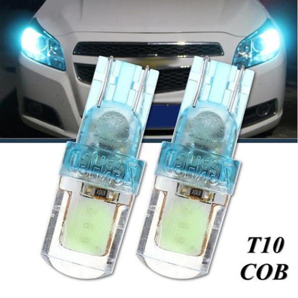 CHUA 1PCS T10 194 168 W5W COB LED Car Silica License Plate Width Light Bulb Ice