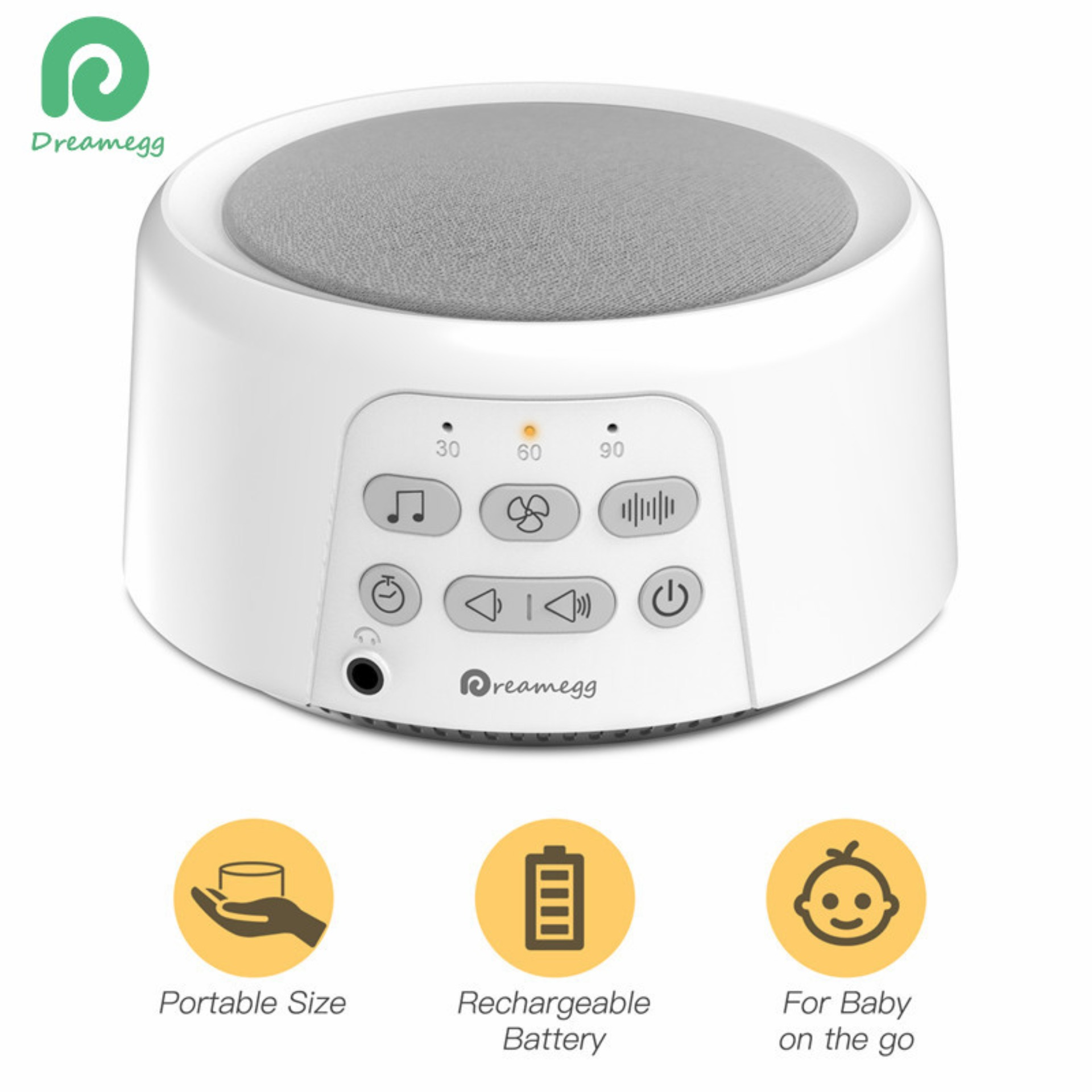 24 Timer Sound [dreamegg] portable white noise sound machine baby soother with 24  non-looping hifi sounds / 3 auto-off timer / usb rechargeable power for  baby adults