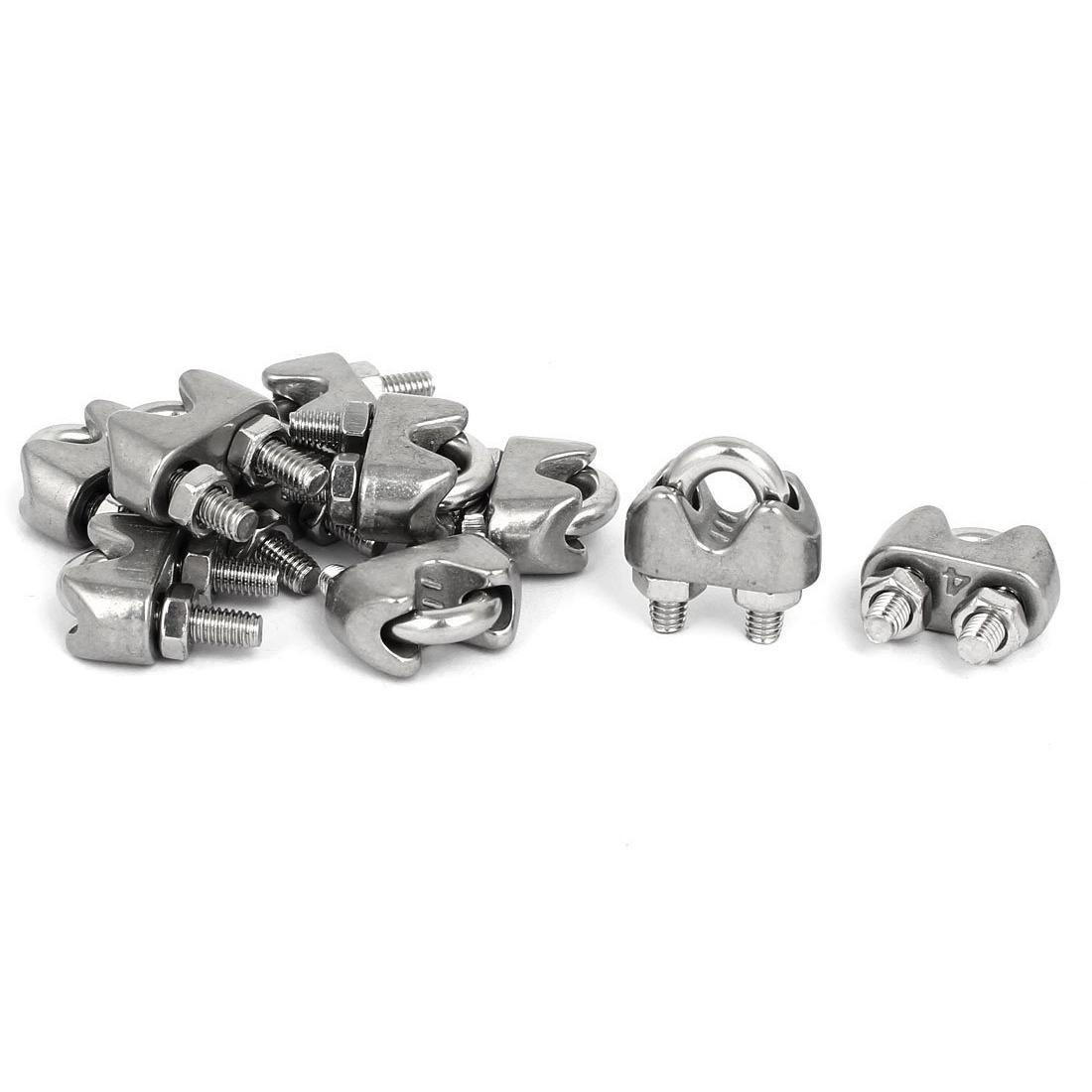 M4 5/32 Inch 304 Stainless Steel U-Shape Bolt Saddle Clamps Cable Wire Rope Clips 10PCS