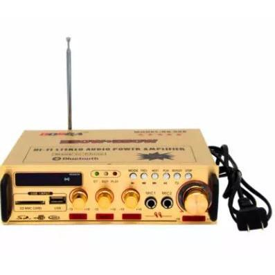 Bosca BS-905 USB/SD FM Stereo Audio Power Amplifier 350W+350W with  Bluetooth and 2 Mic Input (Gold)