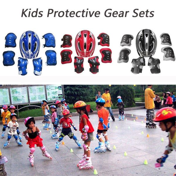 GOTORADE 7Pcs/set Practical Protective Equipment Bike Safety Kids Safety Guard Skate Cycling Safety Helmet Knee Elbow Pad Bicycle Helmet Protection
