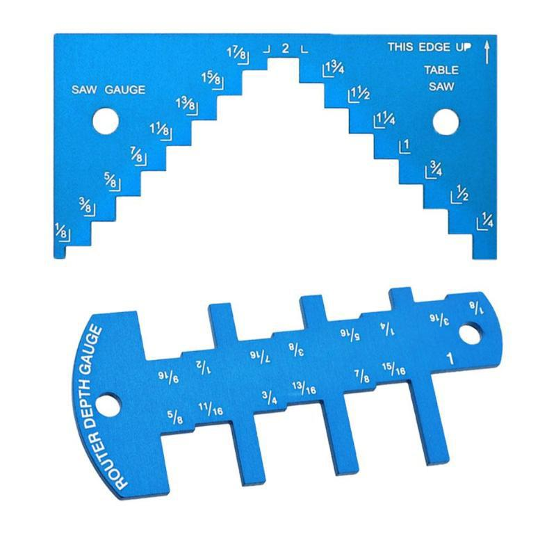 2 Pieces Aluminium Alloy 1/8 To 2-1/4 Inch Depth Gauge Saw Gauge for Table Saw Router Table Set Up Miter Cutting Woodworking