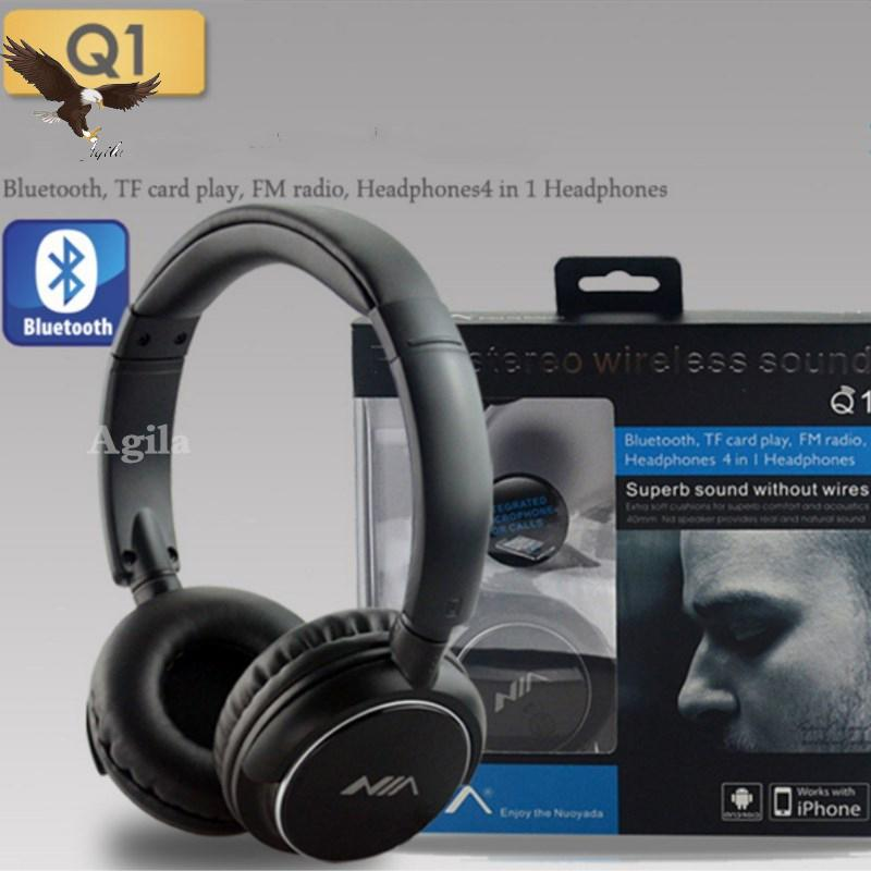 Nia Q1 Bluetooth Headset AUX Slot/FM Radio Multifunction Headphones With  Free AUX Wire