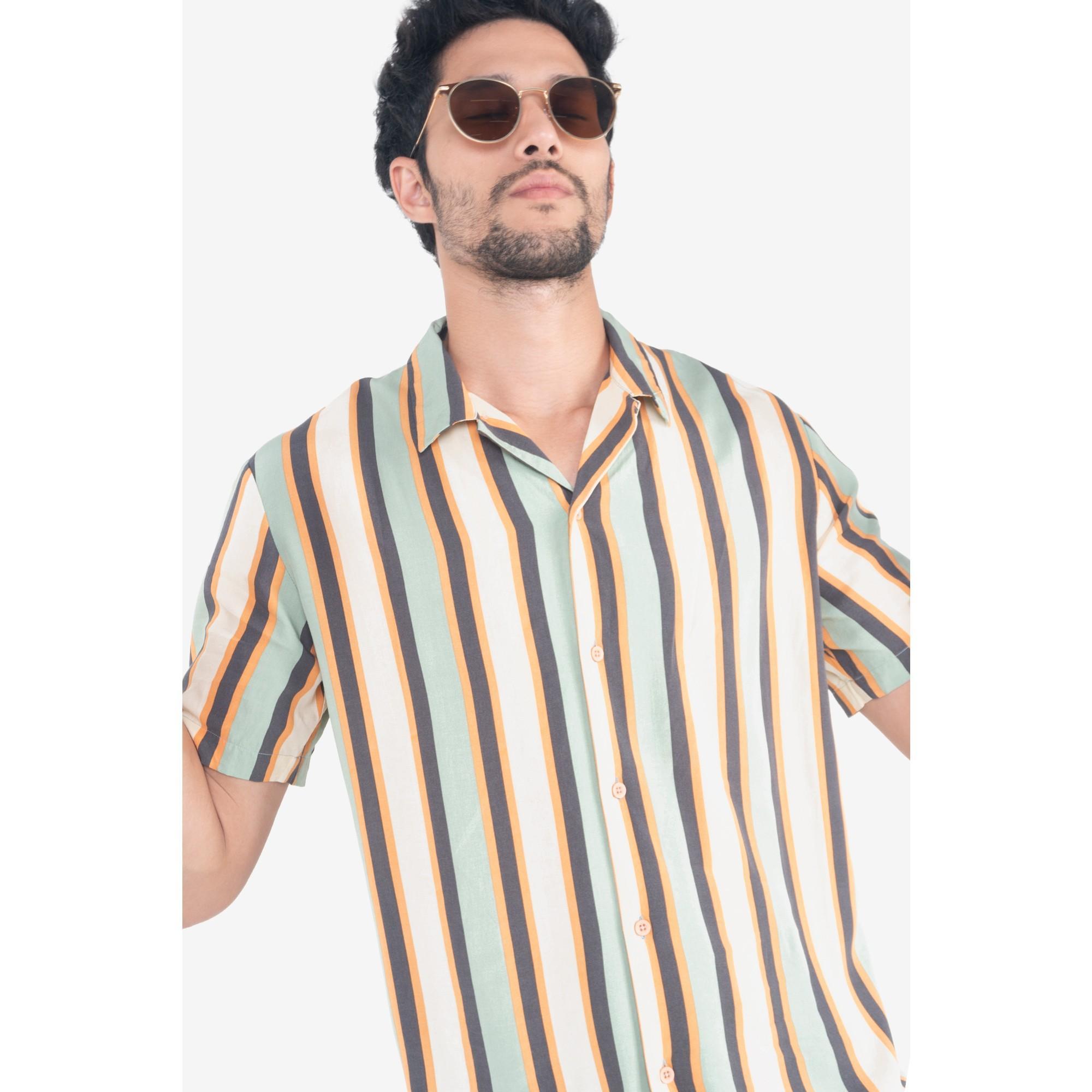 435452318a015d Penshoppe Striped Resort Shirt (Cream)