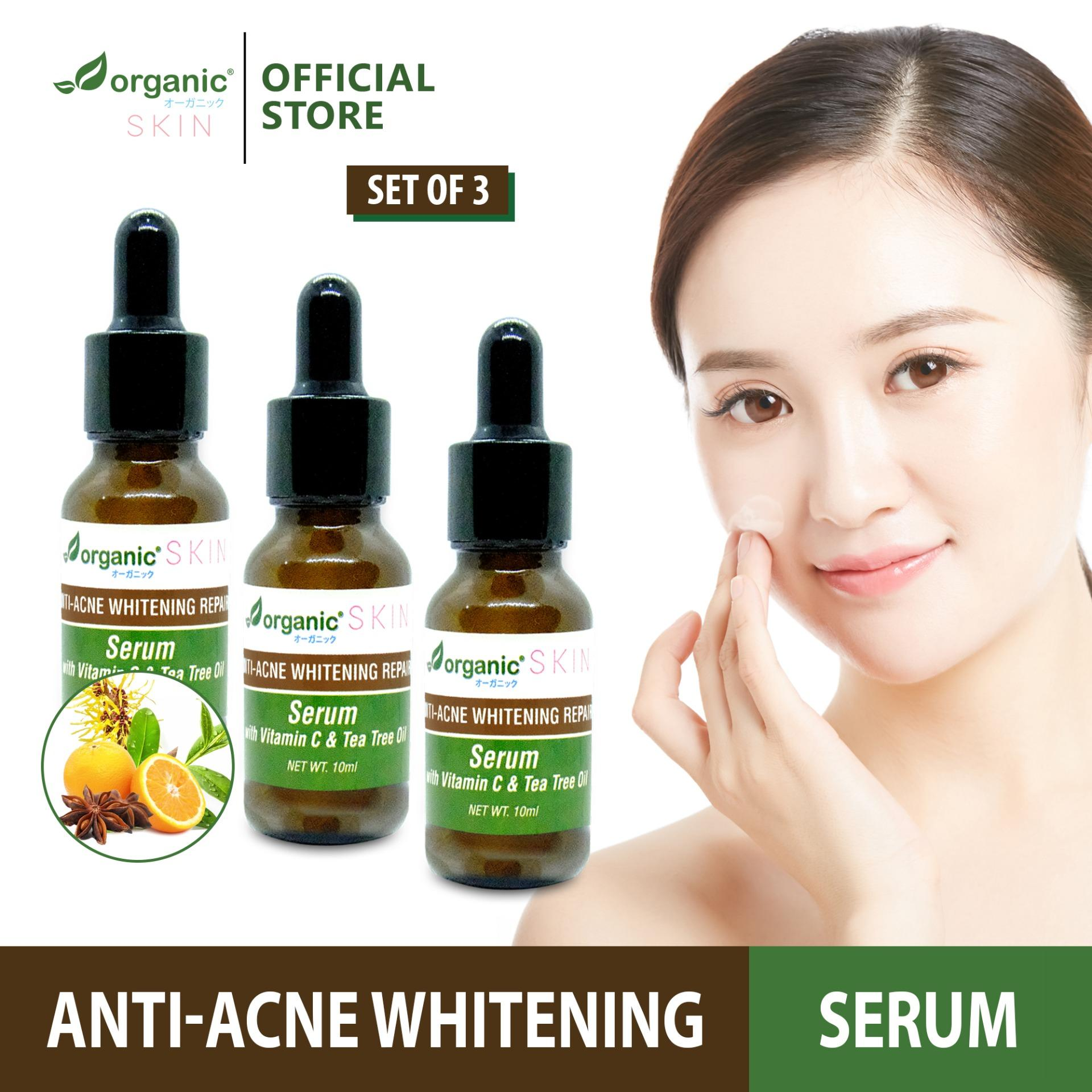 Organic Skin Japan AntiAcne Whitening Repair Serum with Vitamin C & Tea  Tree Oil (set of 3, 10ml each) face serum faceserum anti-acne anti acne