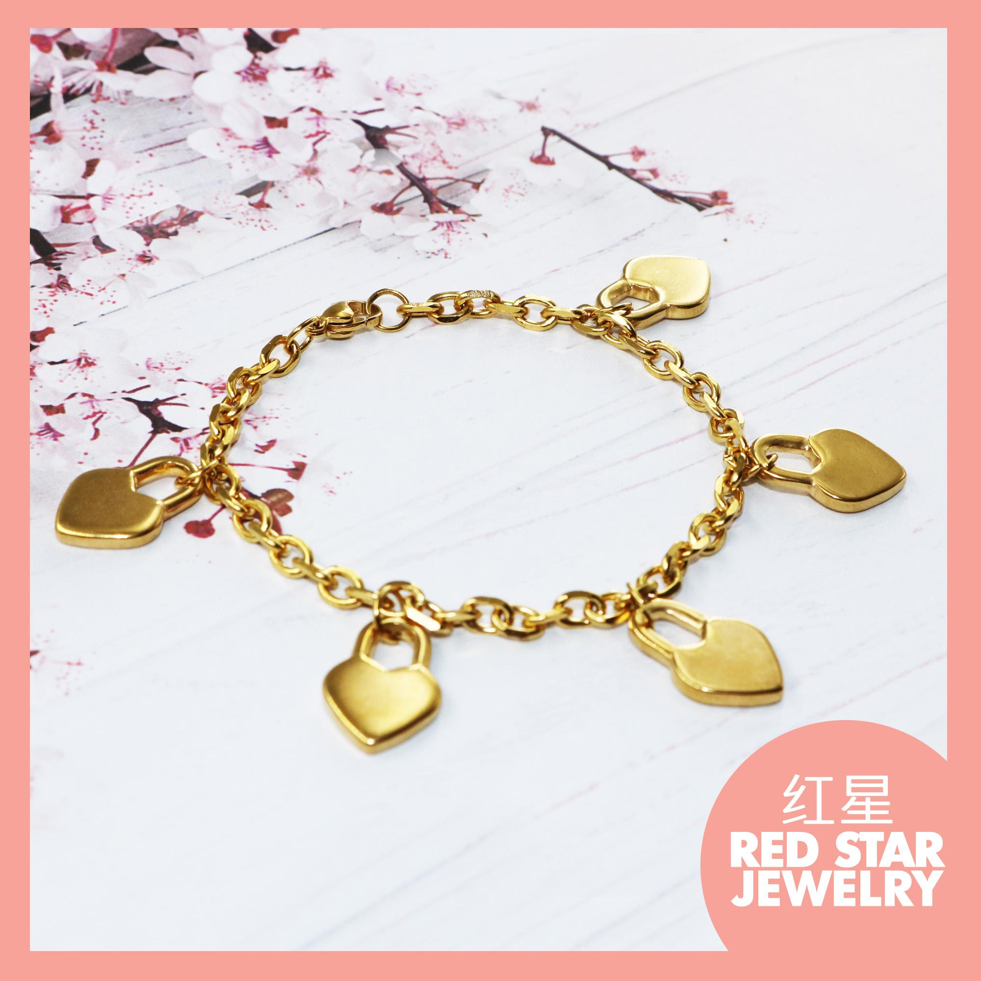 Red Star Jewelry Lock Heart Bracelet Stainless Steel Gold plated #BRCLT- 012 image on snachetto.com