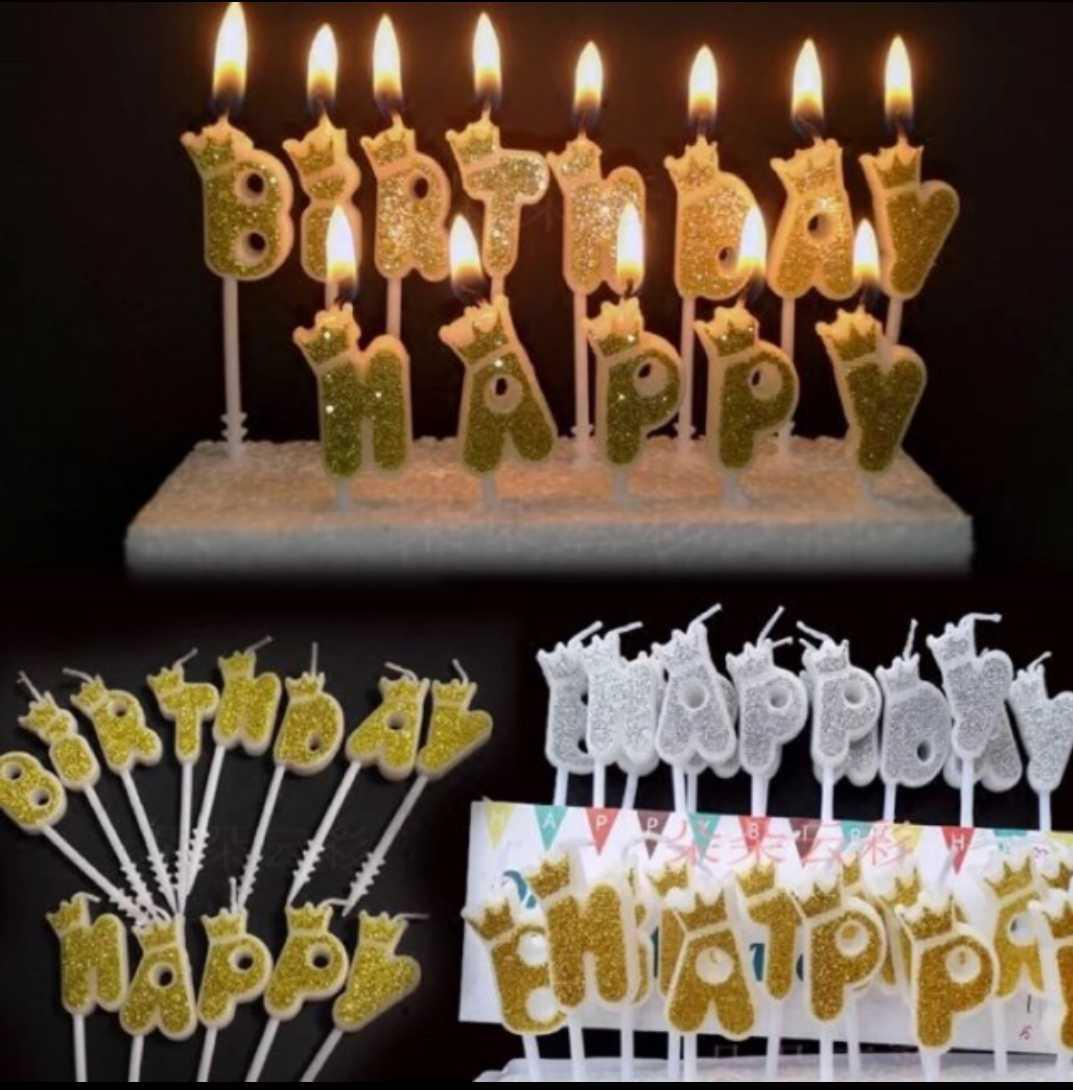 Happy Birthday Candle Light Crown Gold Silver image