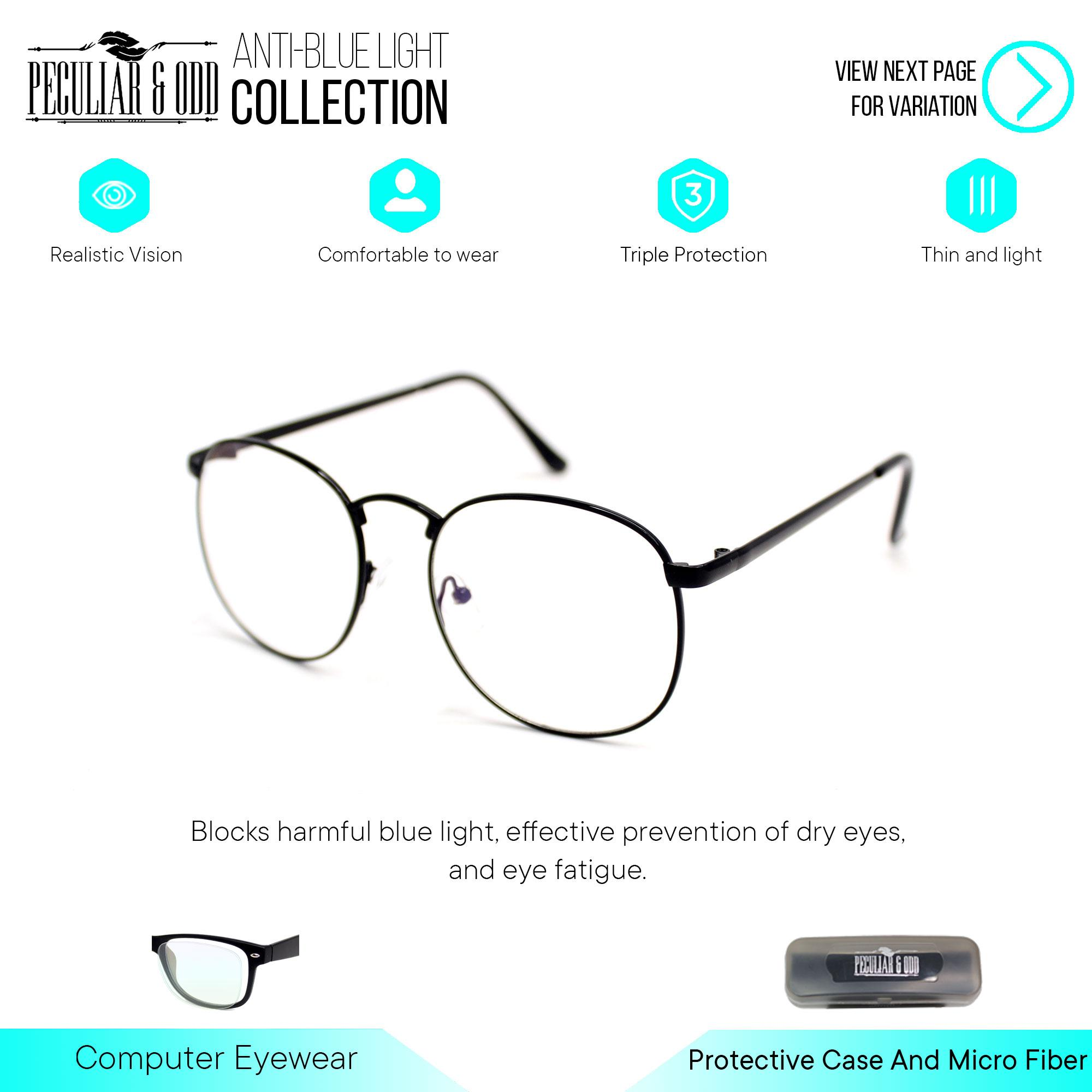 b4df4f50539 Peculiar Round Eyeglasses 8810 Antiradiation Lenses in Thin Metal Frame  Lightweight Replaceable Optical Lens Unisex Eyewear