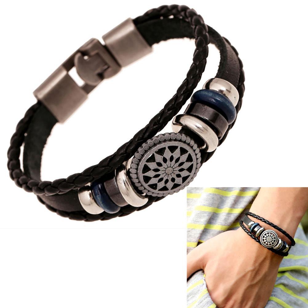 73e19b828290f BODHI Women Men Faux Leather Cute Cool Braided Cuff Bracelet Jewelry Punk  Wristband