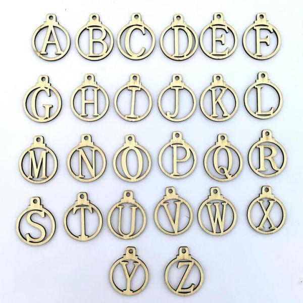 exix 1set Countdown A-Z Letters 1-25 Numbers Gift Tags Wooden Calendar Christmas Advent Party Supplies Gift For Friend